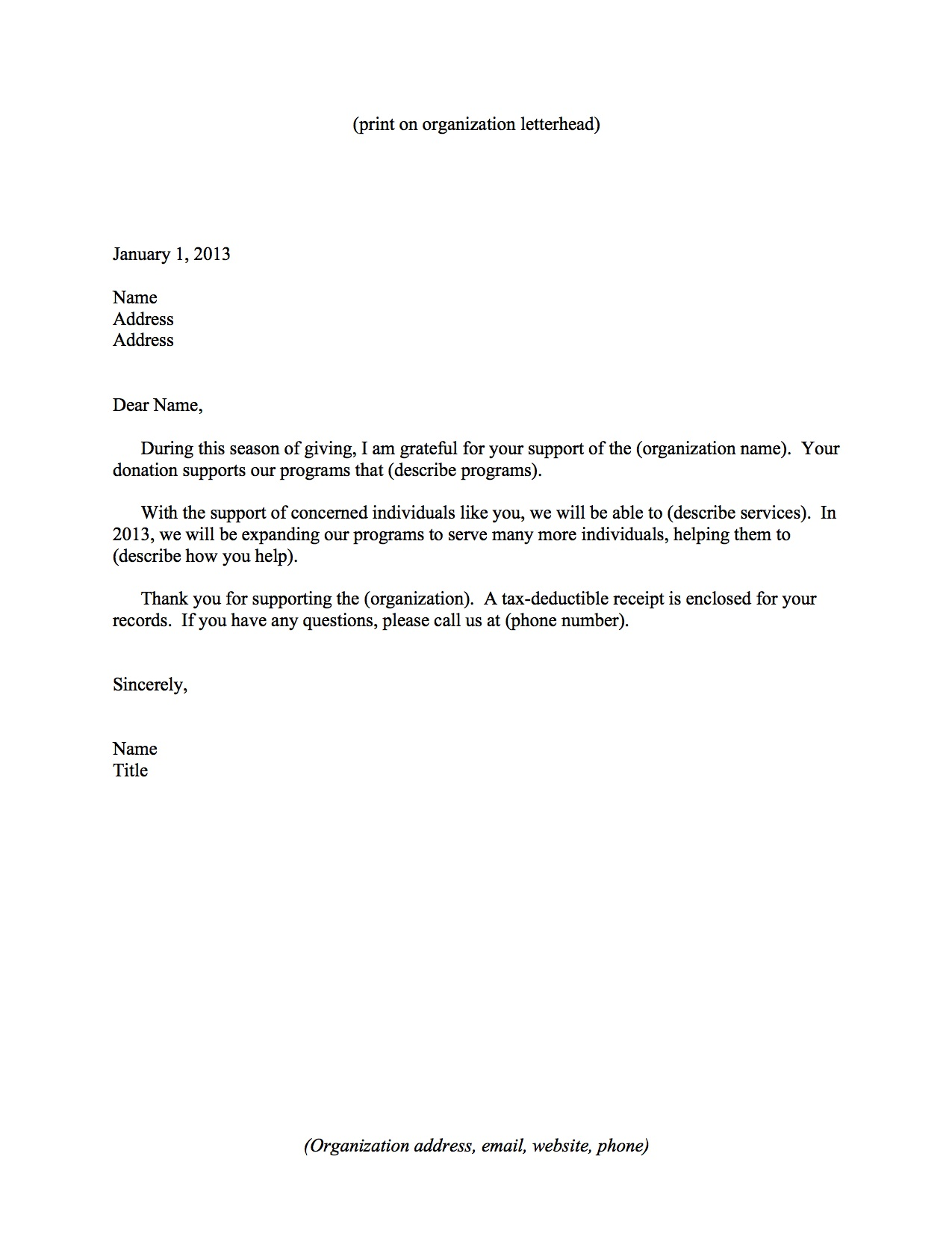 Non Profit Donation Thank You Letter. Fundraising Made Effortless With 13  Donation Request ...