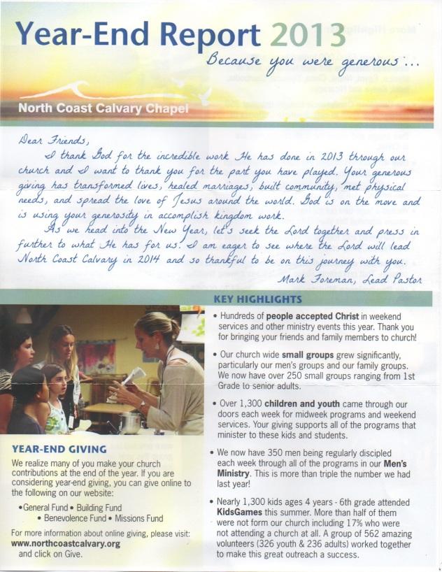 North Coast Calvary Church Annual Report 1