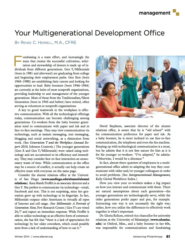 Your Multigenerational Development Office - Advancing Philanthropy Winter 2014