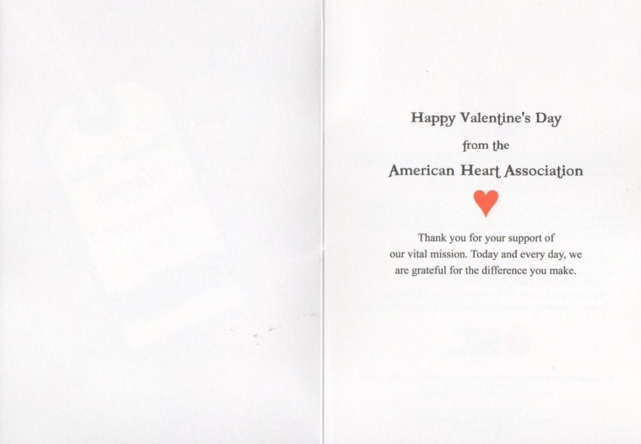 Valentine's Day Card from American Heart Association 2
