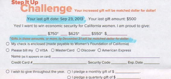 CA Women's Foundation Challenge Donation card monthly giving option