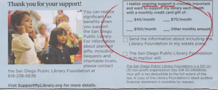 SD Library Donation card monthly giving option